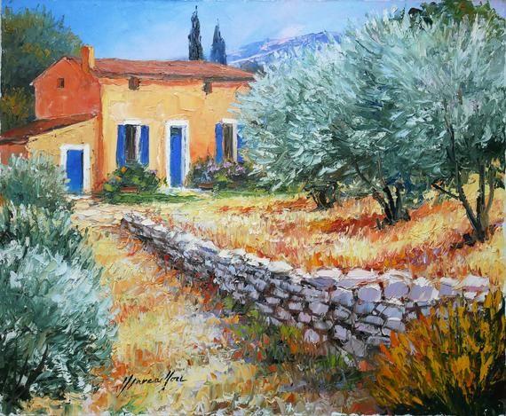 Tableau Provence Henry Marcaillou Huile Sur Toile Orignale 73 X