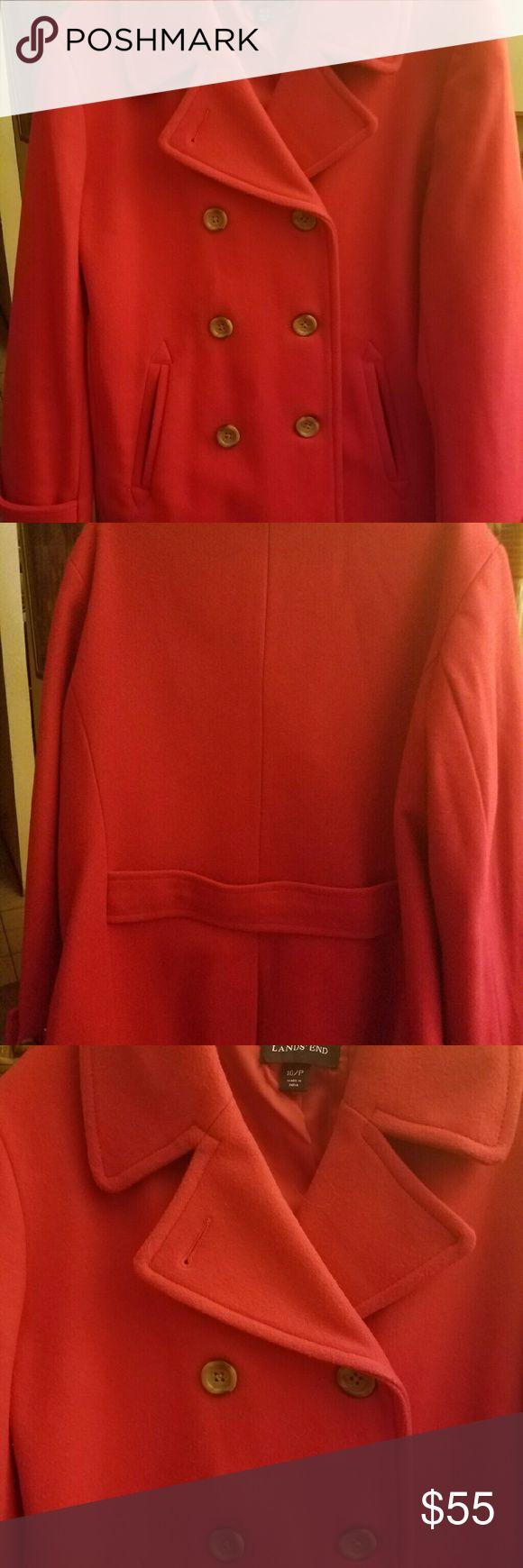 ❤️ Land's End red Pea  Coat size 10P ❤️ 🚨🚨SALE Land's End red Pea  Coat size 10P 🚨🚨SALE🚨🚨 Land's End  Jackets & Coats Pea Coats