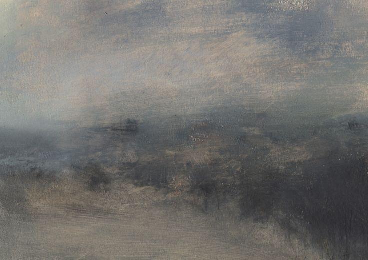 Nicholas Herbert, British Artist - Landscape L971, Sharpenhoe Series, From Markham Hill, The Chiltern Hills, contemporary mixed media painting