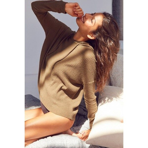 Out From Under Farrah Thermal Hoodie Sweatshirt ($49) ❤ liked on Polyvore featuring tops, long sleeve tops, drop-shoulder tops, relaxed fit tops, drawstring top and brown long sleeve top