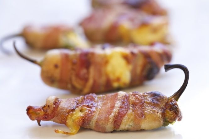 Spicy Bacon-Wrapped Jalapeno Poppers      These are delicious.  Suggest wearing plastic gloves where working with the jalapenos.  I really burned my hands when preparing a bunch for a party.