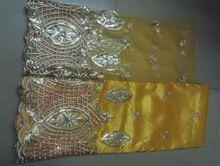 Gelb george spitze stoff indischen george, neue design african george spitze stoff für kleid schnürsenkel tüll stoff für bluse(China (Mainland))