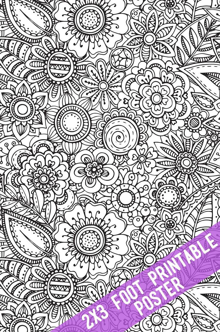 Adult coloring books for pc download - Floral Coloring Poster Coloring For A Group Huge Adult Coloring Pages You Can Have