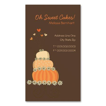 48 best cake business cards images on pinterest business cards chocolate brown background cute sweet whimsical orange cake shop business cards reheart Images