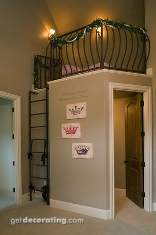 I love this type of idea for a kids room. Great way to use up vaulted ceiling space too.