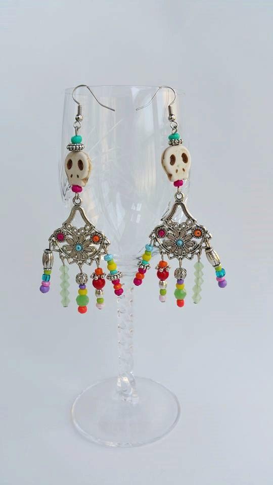 Long beaded chandelier earrings  Bohemian Gypsy by TresJoliePT