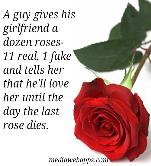 New Relationship Quotes For Her: A Guy Gives His Girlfriend A Dozen Roses. 11 Real, 1 Fake