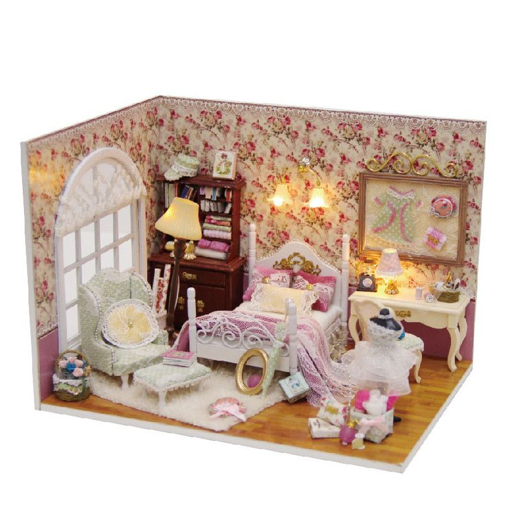 diy bedroom furniture kits. miniature love rose room dollhouse furniture kits diy wooden dolls house led lights for toy romantic diy bedroom