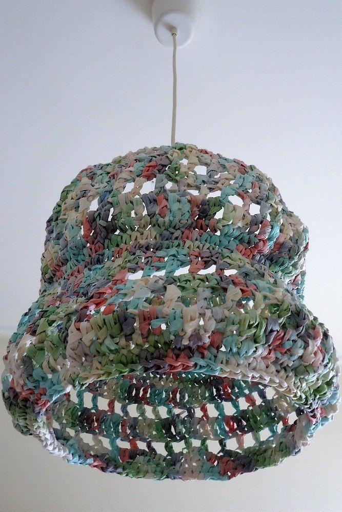 Crochet Pendant Light, Knitted Seiling Shade, Crochet Chandelier, Crochet Paper Hanging Lamp, Handmade Lighting, Pastel Color Lighting by YellowByZoe on Etsy