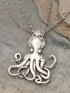 Octopus Fork Necklace - the tentacles are made out of two vintage forks! #jewelry