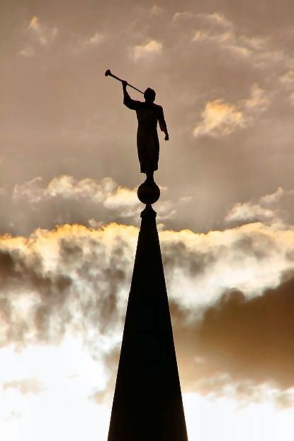 """""""I see the angel Moroni, standing atop the temple http://facebook.com/163927770338391, as a shining symbol of [our] faith. I love Moroni, because in a degenerate society, he remained pure and true. He is my hero. He stood alone. I feel somehow he stands atop the temple today, beckoning us to stand above the worldly clamor, to have courage, to remember who we are and to be worthy to enter the 'the mountain of the Lord'—the holy temple."""" –Elaine S. Dalton"""