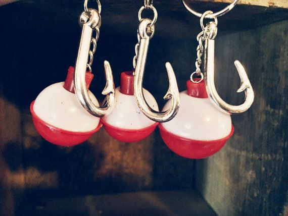 Fisherman Fishing Bobbers Keychain with Fish Hook by AdelynElaines