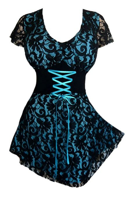 Plus Size Turquoise and Black Lace Sweetheart Corset Top [SC09T] - $41.99 : Mystic Crypt, the most unique, hard to find items at ghoulishly great prices!