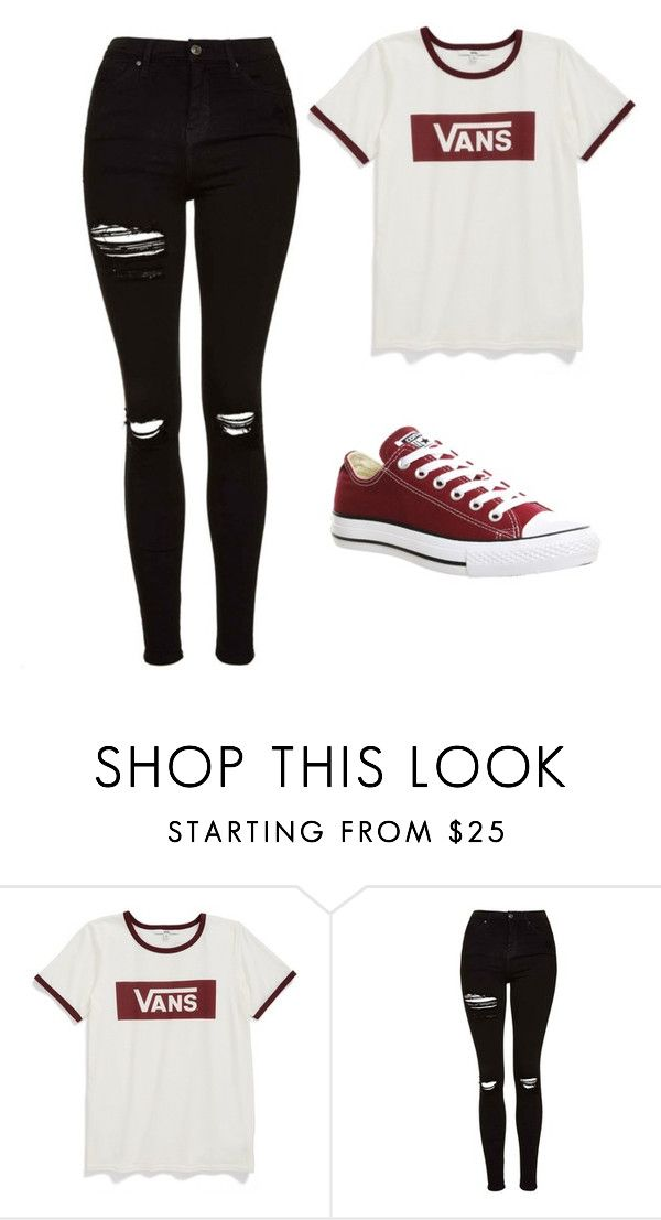 """Untitled #388"" by cuteskyiscute on Polyvore featuring Vans, Topshop and Converse"
