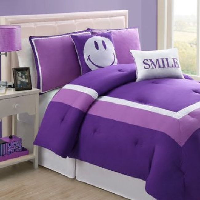 Bedding Sets Twin For Girls 5-Piece Purple Comforter Set Teen Kids Bedroom Decor #Unbranded