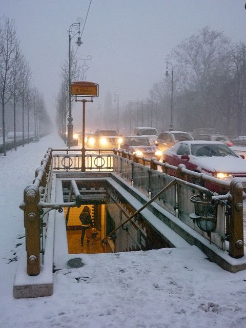 Snowing in Budapest. Andrassy Street, Line1
