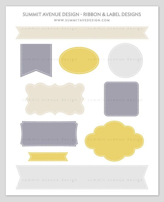 Ribbon & Label Shapes - digital CLIP ART - for photography scrapbook or logos. $6.00, via Etsy.