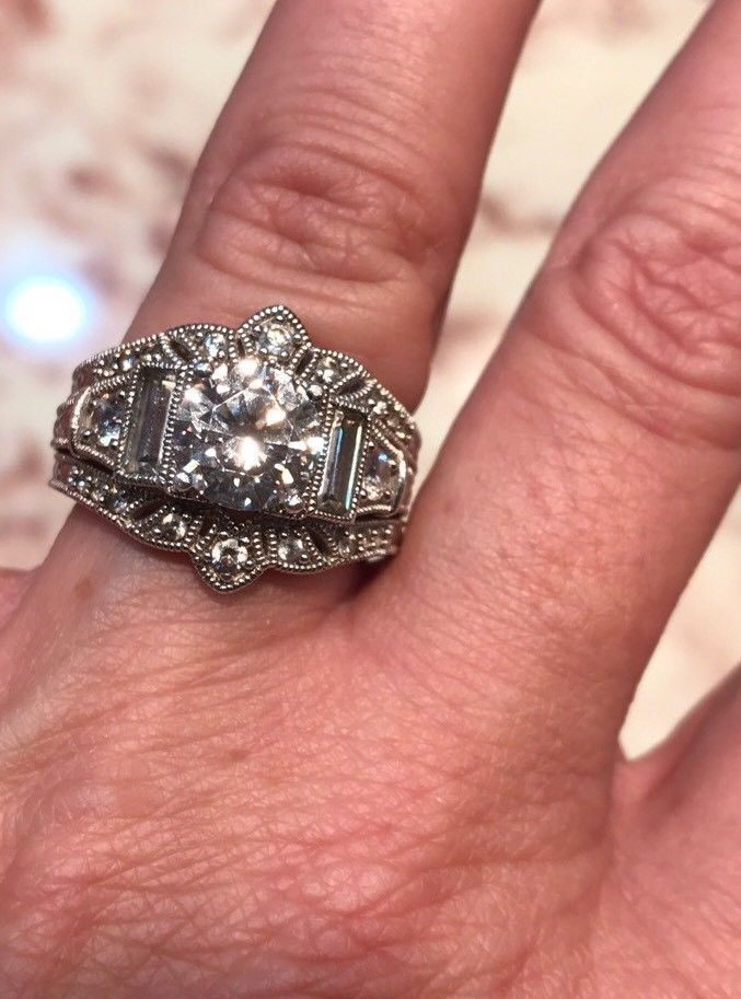 Hsn Xavier Wedding Ring Set With Ring Guard Gorgeous Size 7 925