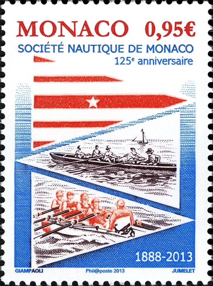 "This stamp commemorates the 125th Anniversary of the Sociéte Nautique de Monaco. It as issued by the ""Office des Emissions de Timbres-poste, Principauté de Monaco"" on January 16, 2013."