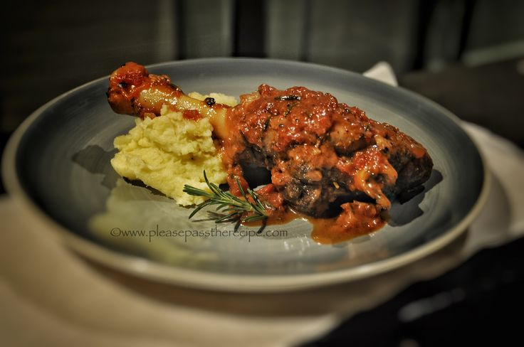 Braised lamb shanks with port and rosemary