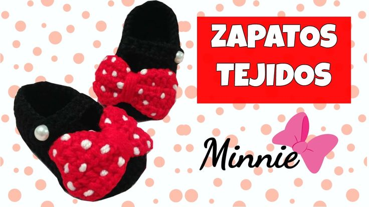 Zapatitos de Minnie mouse tejidos a crochet | 0-3 meses