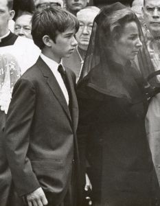 *ROBERT KENNEDY JR. & mom ETHEL ~ at his father's funeral in 1968.