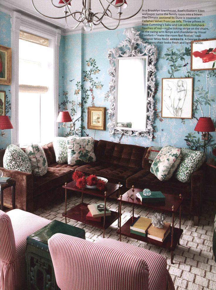 Lee Jofa in February 2014 House Beautiful Sofa fabric: Callahan Velvet in Burgundy 2010116-9 Pillows: Hollyhock HDB in White/Coral 7128-LJ