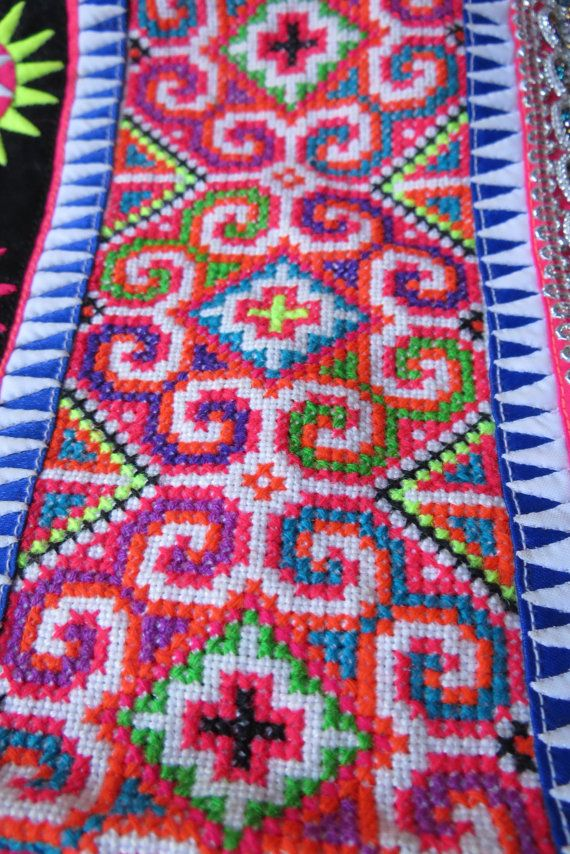 Vintage Hmong fabric Handmade Fabrics handmade by dellshop on Etsy