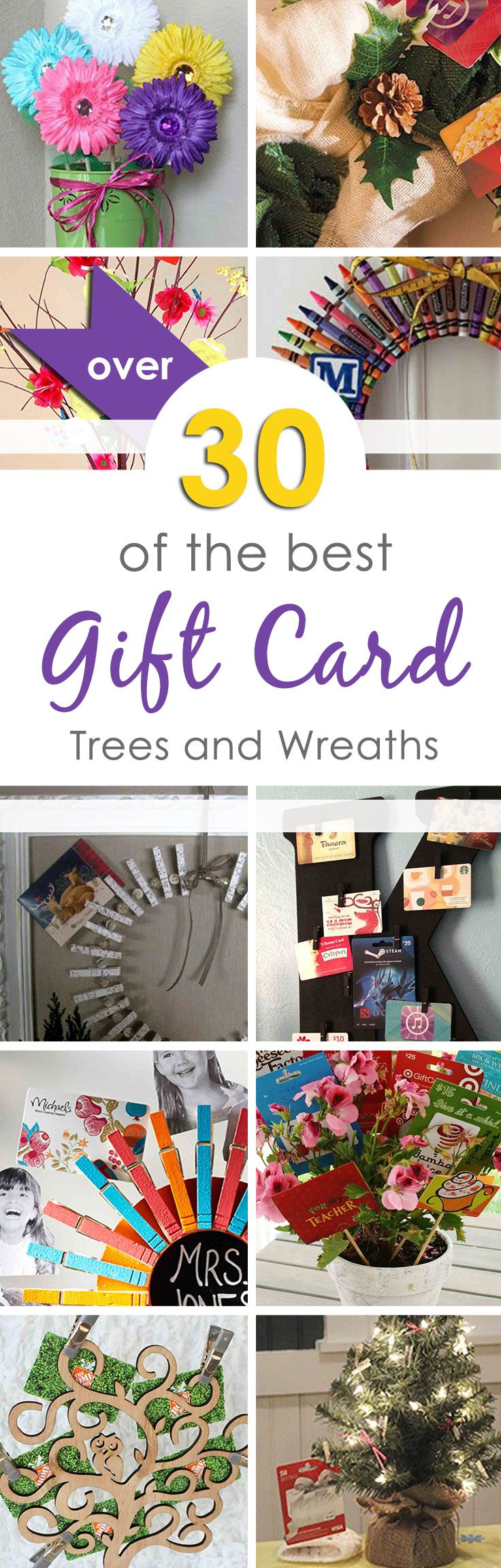 Over 30 of the best gift card trees and gift card wreaths I could find. Great for a group gift or to simply give multiple gift cards to the same person. Think Teacher Appreciation, Baby Shower, Bridal Shower, Wedding, Holidays and more.   These ideas are also great for giving mom more than one gift card on Mother's Day, dad gets several on Father's Day, etc.