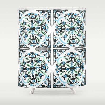 Morrocan tile  Shower Curtain by Arabella India - $68.00