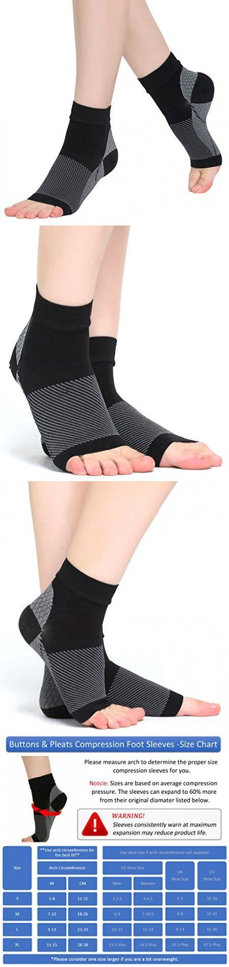 Plantar Fasciitis Socks Compression Foot Sleeves for Arch Support Toeless Front & Ankle Support S Black