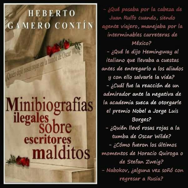 Juan Rulfo, Hemingway, Jorge Luis Borges entre otros, son parte de estas minibiografías. Sigue leyendo aquí: relinks.me/B00GVY7E8U