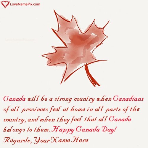 Write Name on Free Online Greeting Cards Canada Day Picture