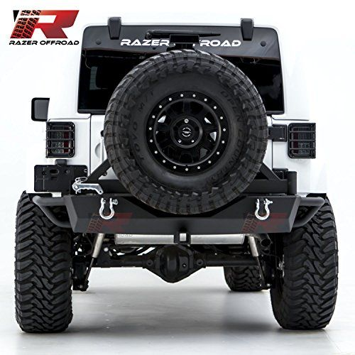 Razer Auto Jeep Wrangler JK Textured Black Rear Bumper with Tire Carrier