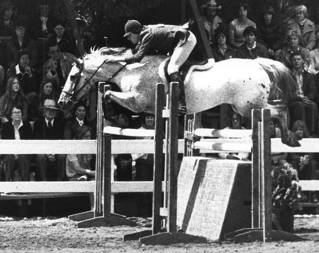 Rich Fellers on Sure Chic at The Lake Washington Saddle Club horse show in Kirkland, WA, July, 1977.