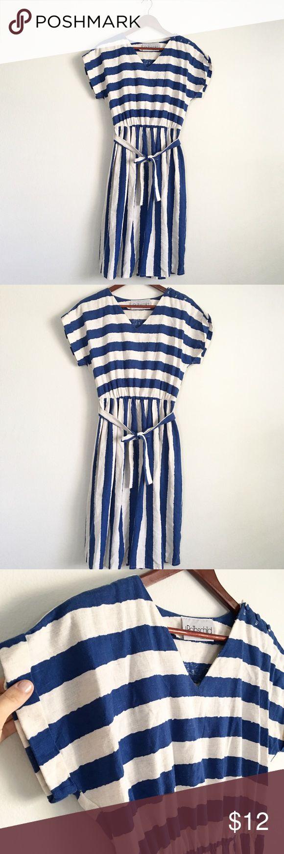 Vintage Linen Striped Dress Adorable and classic vintage striped linen dress. Nautical feel with option tie around belt. First m/l best Dresses