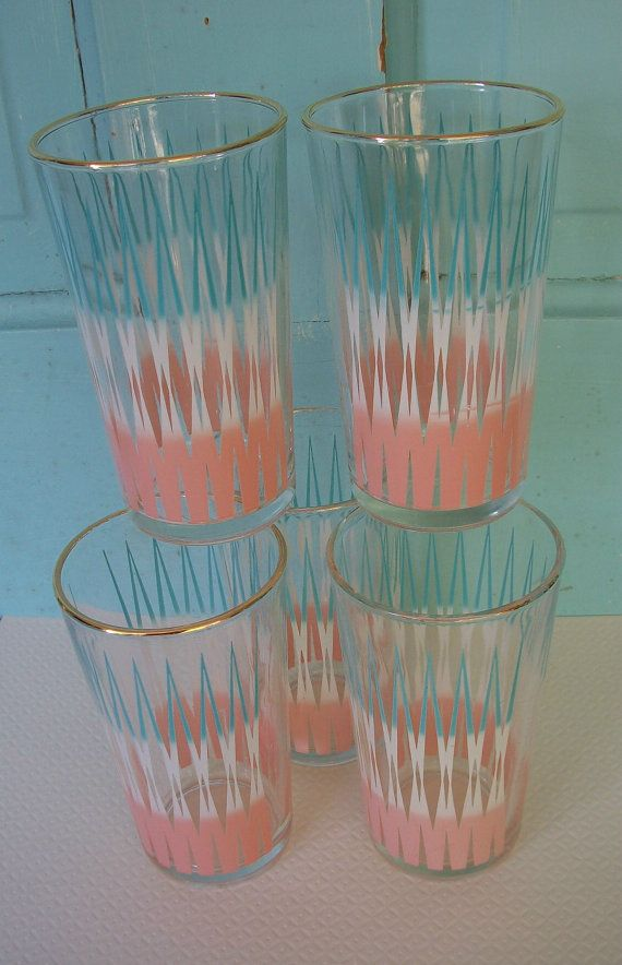 vintage turquoise white and pink mid century modern design drinking glasses set of 5 tumblers