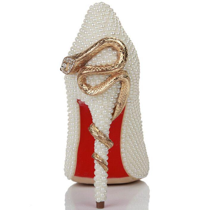 elegante parel vrouwen pompen schoenen sexy puntige yoe bruiloft kleding schoenen echt lederen schoenen rode onderkant vrouwen pompen gratis verzending in  van harte welkom om de winkel van de wvoorteken van vrouwen pompen op AliExpress.com   Alibaba Groep