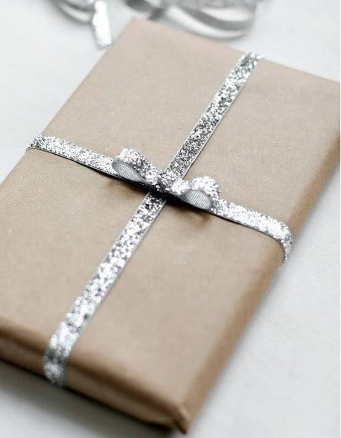 christmas wrapping - this, with blue initials to match my tree/decor theme