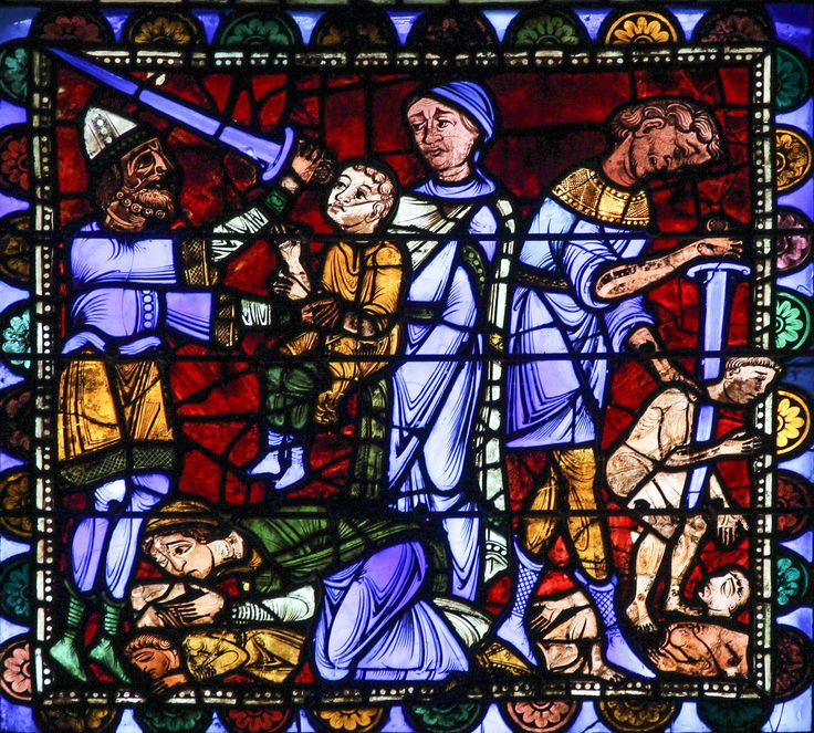 Martyrdom of the Holy Innocents / El martirio de los Santos Inocentes // Stained glass window from Chartres Cathedral // Photo: Lawrence OP