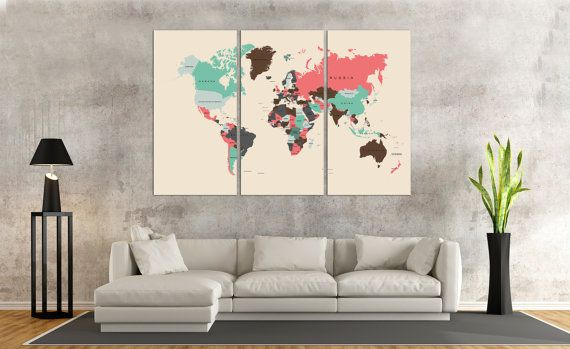 The 26 best travel quotes travel decor images on pinterest large colorful travel push pin world map poster push pin map art 1 gumiabroncs Image collections