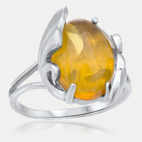 925 Silver Ring with Yellow Amber