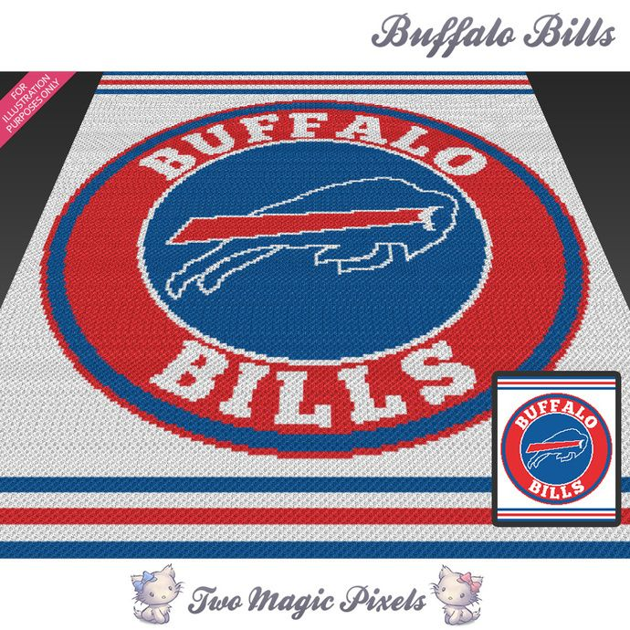Buffalo Bills crochet blanket pattern; knitting, cross stitch graph; pdf download; NFL; no written counts or row-by-row instructions by TwoMagicPixels, $5.69 USD