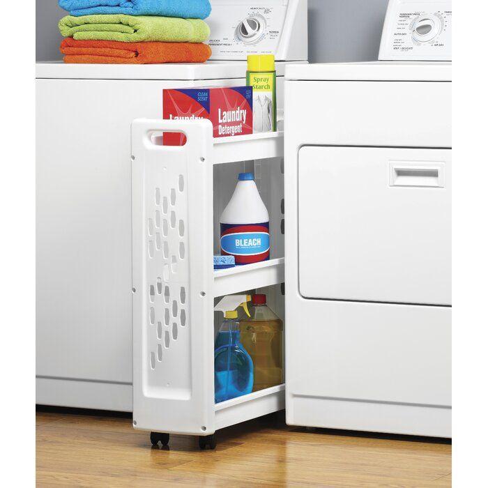 Slim 3 Tier Laundry Cart Laundry Room Storage Shelves Laundry