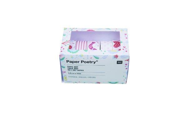 5-pack Washitejp Blommor Rosa