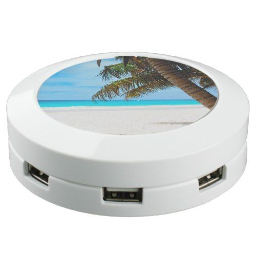 Tropical beach, turquoise water USB charging station