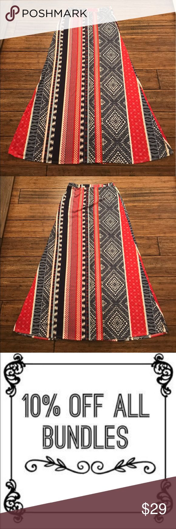 "Lily Star Tribal Maxi Skirt Lily Star tribal maxi skirt. 95% polyester, 5% spandex. Approx. 13.5"" across waist, 19"" across hips, and 40.5"" long. Skirts Maxi"