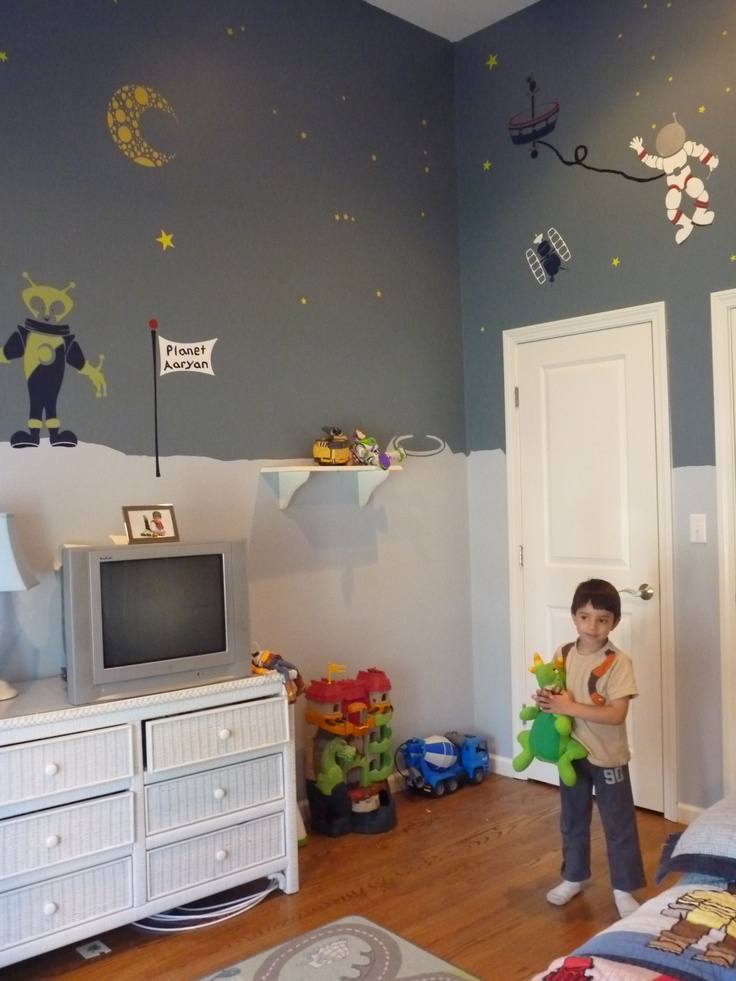 cool 10 space themed kids room ideas and inspiration_space_room_wall_stencils_large