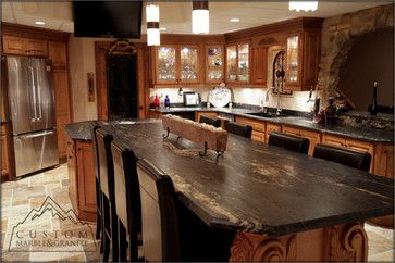 Tuscan Kitchen - mediterranean - kitchen countertops - other metro - Custom Marble & Granite