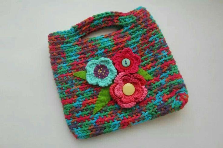 Crochet little, flower bag